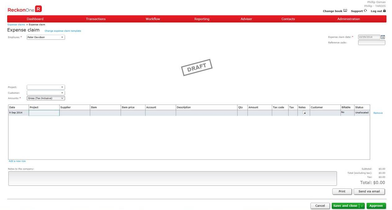 Screenshot of enter expense claim in Reckon One, online accounting software