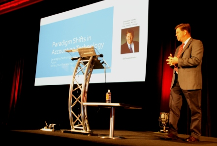 Doug Sleeter on stage at Reckon National Conference